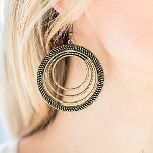 Jewelry - Totally Textured Brass Multiple Hoops Earrings